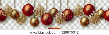 Christmas And New Year Seamless Border. Golden Snowflakes, Red And Gold Realistic Christmas Balls Ha