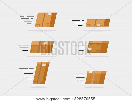 Fast Delivery Service Concept. Set Of Speed Delivery Boxes Flying. Vector Illustration.