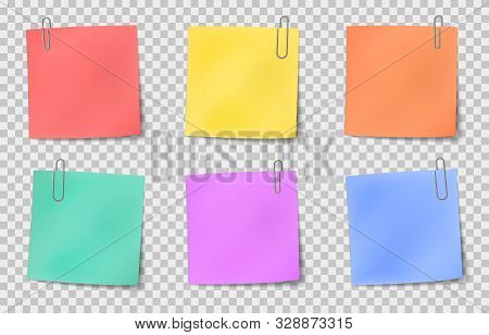 Note Sticky. Color Paper Notes Attached By Metallic Paper Clips, Information Noticeboard, Important