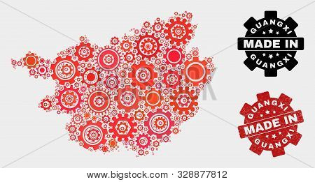 Mosaic Technical Guangxi Province Map And Textured Seal. Vector Geographic Abstraction In Red Colors