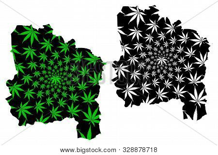 Ang Thong Province (kingdom Of Thailand, Siam, Provinces Of Thailand) Map Is Designed Cannabis Leaf