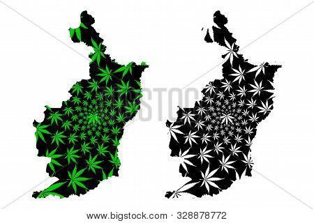 Buriram Province (kingdom Of Thailand, Siam, Provinces Of Thailand) Map Is Designed Cannabis Leaf Gr