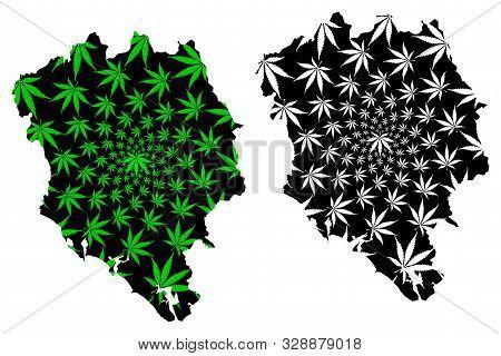 Chanthaburi Province (kingdom Of Thailand, Siam, Provinces Of Thailand) Map Is Designed Cannabis Lea