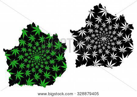 Kamphaeng Phet Province (kingdom Of Thailand, Siam, Provinces Of Thailand) Map Is Designed Cannabis