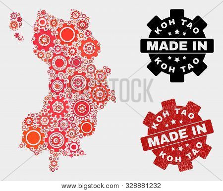 Mosaic Technical Koh Tao Map And Grunge Stamp. Vector Geographic Abstraction In Red Colors. Mosaic O
