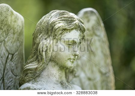 Detail Of An Angel Sculpture. Unknown Artist Of The 19th Century.