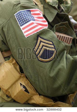 Flag-Patch auf amerikanischen Soldaten (Staff Sergeant) Uniform.