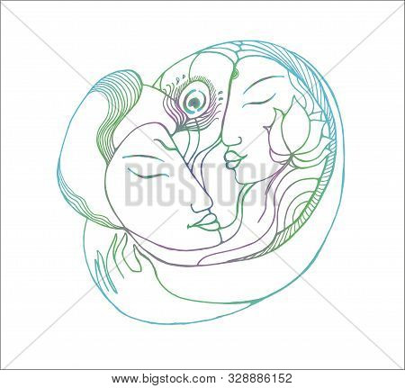 Neon Picture Of A Couple. Gradient Illustration Natural Love