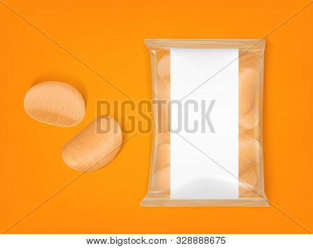 Wavy Chips Pack, Ripple Potato Snack Package Isolated On Orange Background Top View. Blank Plastic B