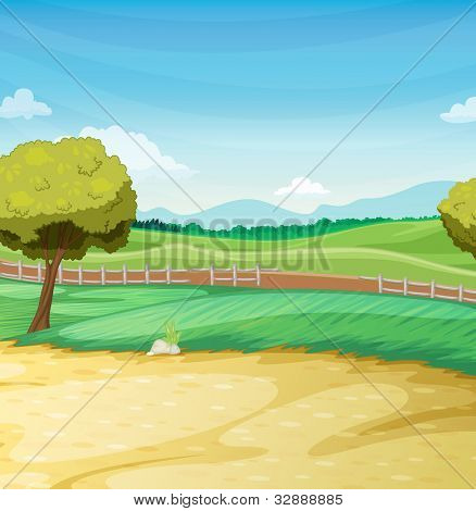 Empty farm scene landscape illustration - EPS VECTOR format also available in my portfolio.