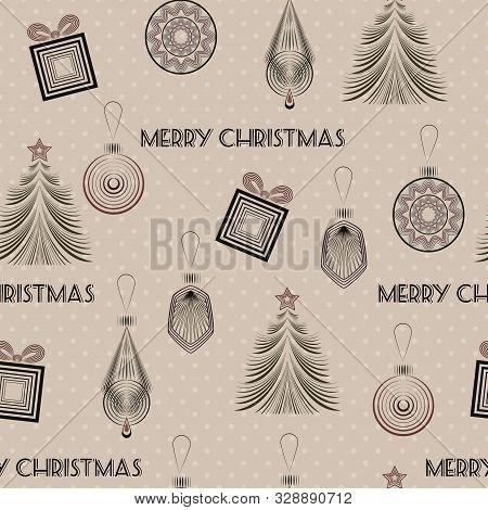 Seamless Christmas Pattern In Art Deco Modern Style Elegant Background