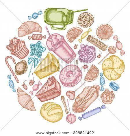 Round Floral Design With Pastel Cinnamon, Macaron, Lollipop, Bar, Candies, Oranges, Buns And Bread,