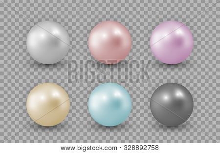 Realistic Pearls. Color Vector Pearls Isolated On Transparent Background. Precious Decoration, Neckl