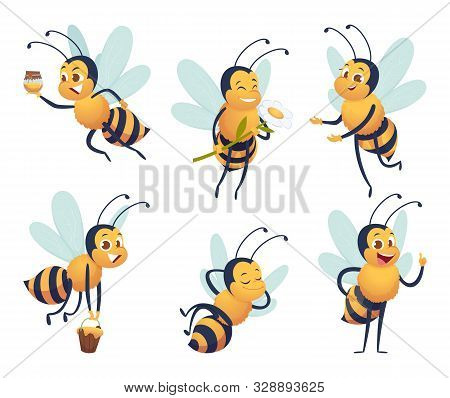 Cartoon Bee. Happy Flying Insect Mascot Bee Nature Honey Delivers Vector Characters Isolated. Mascot