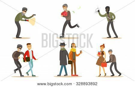 Criminals And Robbers Characters Set, Pickpockets In Dark Clothes Stealing Wallets Vector Illustrati