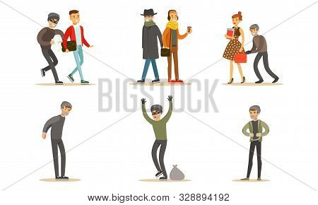 Criminals And Robbers Characters Set, Pickpockets In Dark Clothes Stealing Wallets From Handbag And