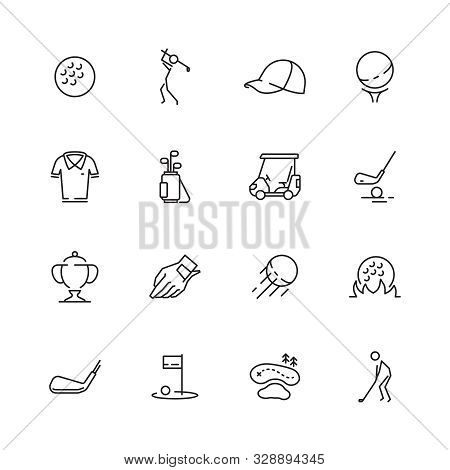 Golf Icons. Sport Symbols Of Golf Club Ball Sticks Car Vector Set Isolated. Icons Golf Sport, Play A