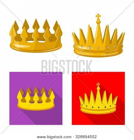 Vector Design Of Medieval And Nobility Symbol. Collection Of Medieval And Monarchy Stock Symbol For