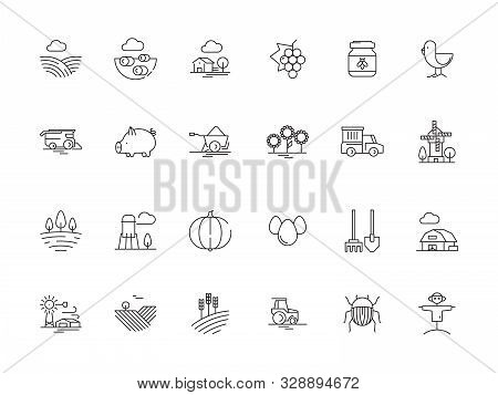 Farm Symbols. Rural Field Landscape Agricultural Objects Mill Tractor Wheat Trees Vector Outline Gra