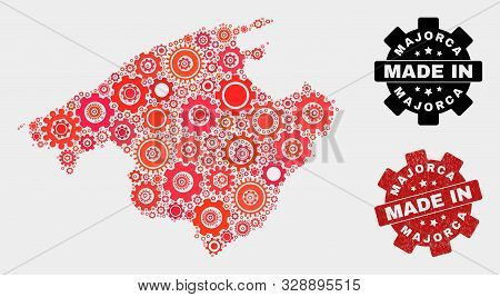 Mosaic Technical Majorca Map And Textured Seal. Vector Geographic Abstraction In Red Colors. Mosaic