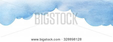 Cartoon Blue Cumulus Cloud Illustration. Cloud Shaped Background. Watercolor Fill Gradient From Pale