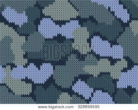 Military decorative blue khaki camouflage. Woolen knitted pattern. Abstract background. Greeting card. Vector illustration poster