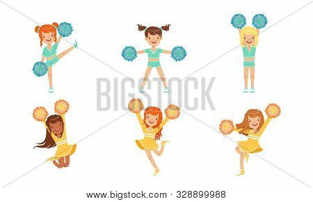 Cute Cheerleader Girls Dancing Set, Smiling Girls Dancers With Pompoms During Sports Competition Vec