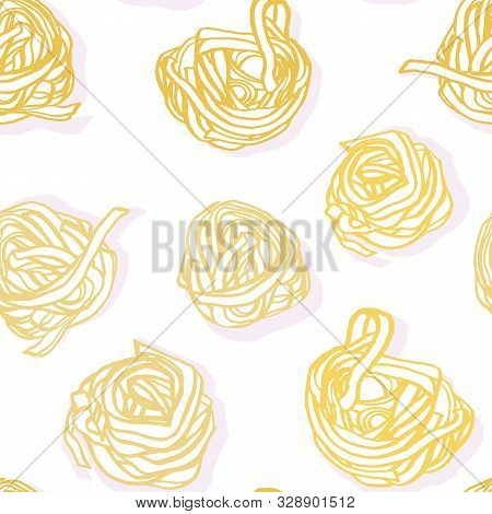Elegant Delicious Hand Drawn Noodle Pattern On Spotted Background In Pastel Tones On White Backgroun