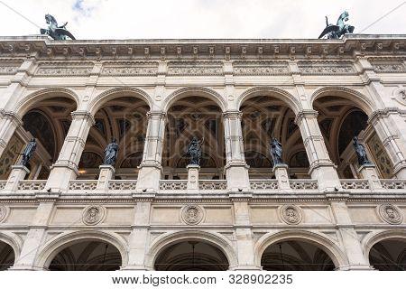 Fragment Of The Facade Building Vienna State Opera Or Wiener Staatsoper, Vienna, Austria.