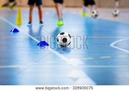Futsal Soccer Training Field. Young Futsal Players With Balls On Training. Close Up Of Futsal Ball.