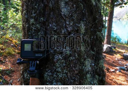 Altai, Russia - 4 August 2018. The Action Of The Gopro Hero7 Camera Is A Black Close-up In A Mountai