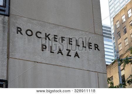New York, United States - September 21, 2019: Rockefeller Plaza Sign At The Side Of A Rockefeller Bu