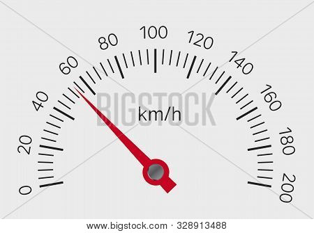 Realistic Illustration Of Speedometer With Red Hand And Black Numbers With Kilometers Per Hour. Isol