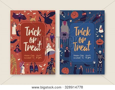 Trick Or Treat Hand Drawn Posters Template. Halloween Party Invitation With Spooky Flat Illustration
