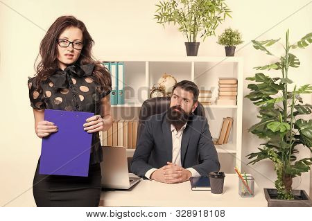 Sensual But Professional. Sensual Business Lady. Sensual Woman Standing In Front Of Businessmen In O
