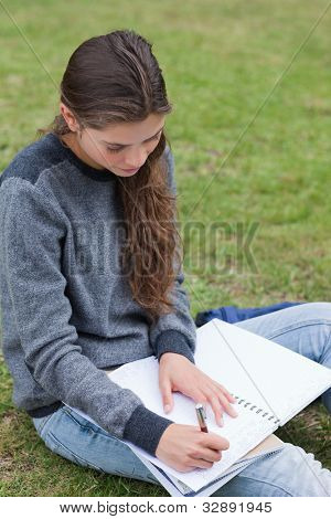 Serious student doing her homework while sitting on the grass in the countryside