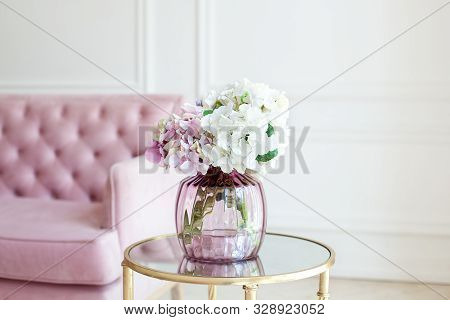 Bouquet Of Pastel Hydrangeas In Glass Vase. Flowers In A Vase At Home. Beautiful Bouquet Of Hydrange