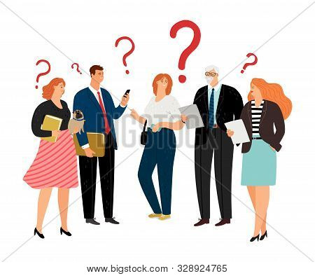 People Have Question. Question Marks, Different Age Business Team Vector Characters