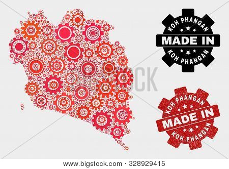 Mosaic Gear Koh Phangan Map And Textured Seal. Vector Geographic Abstraction In Red Colors. Mosaic O