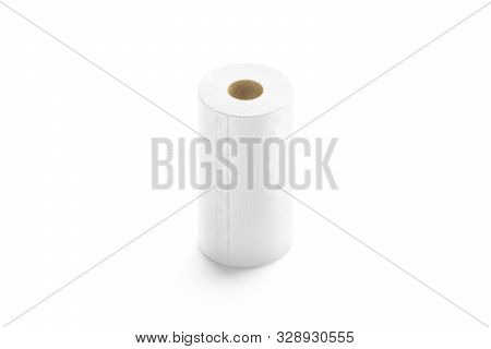 Blank White Paper Towel Mock Up Stand Isolated, 3d Rendering. Empty Tissue Roll Mockup, Side View. C