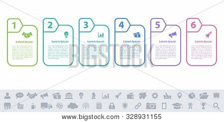 Business Infographic Design Template With 6 Steps Or Options Using For Process Diagram, Workflow Lay