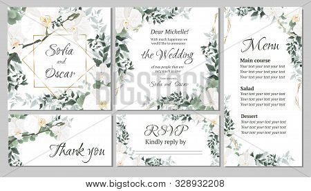 Vector Floral Template For Wedding Invitations. Orchid Flowers, Polygonal Gold Frame, Green Plants,