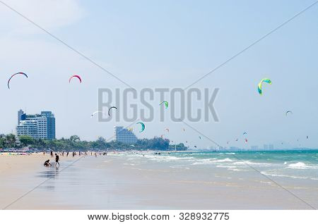 Prachuap Khiri Khan, Thailand - April 2019: Holiday At Hua Hin Beach In Summer, April 14, 2019, In P
