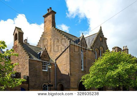 Dornoch, Scotland - May 28, 2019: View Of  Traditional Houses Of The Country Center