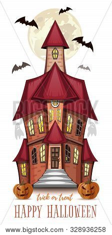 Halloween Greeting Card With A Haunted House. Halloween Design. Vector Illustration Isolated On Whit