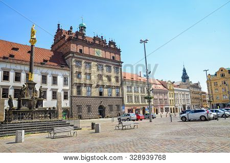 Plzen, Czech Republic - June 25, 2019: The Main Square In Pilsen, Czechia With Rennaisance City Hall