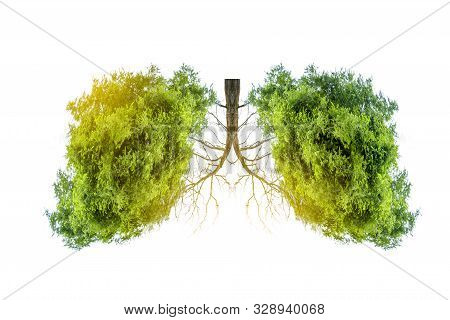 Lung green tree-shaped images, medical concepts, autopsy, 3D display and animals as an element poster
