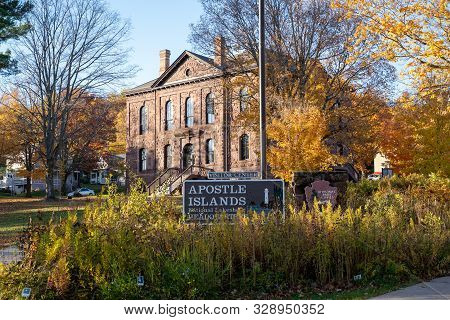 Bayfield, Wisconsin - October 19, 2019: Sign For The Apostle Islands National Lakeshore Headquarters
