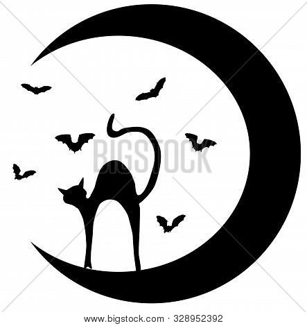 Vector Illustration Of A Cat Silhouette, Bats And The Moon.