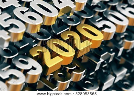 Digital Matrix From Metal Numbers With Golden Numbers 2020. 3d Illustration.